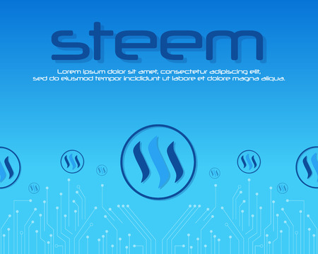 Steem blockchain on blue background vector illustration