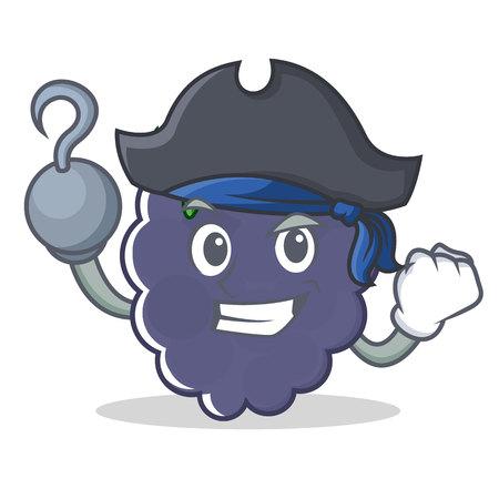 Pirate blackberry character cartoon style vector illustration Illustration