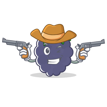 Cowboy blackberry character cartoon style vector illustration