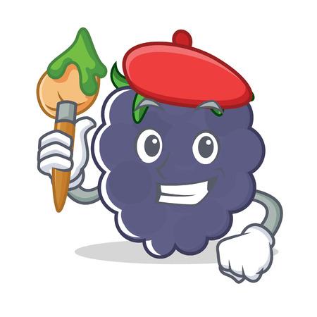 Artist blackberry character cartoon style vector illustration