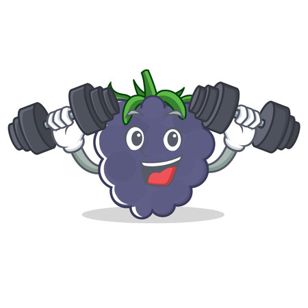 Fitness blackberry character cartoon style Illustration