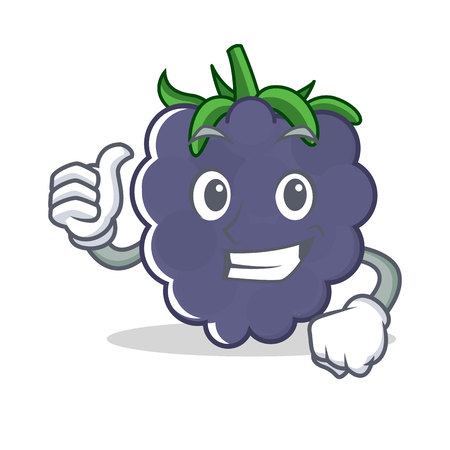 Thumbs up blackberry character cartoon style