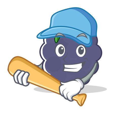 Playing baseball blackberry character cartoon style vector illustration Illustration
