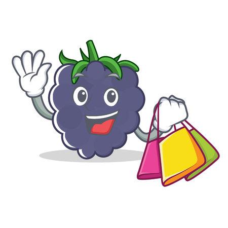 Shopping blackberry character cartoon style
