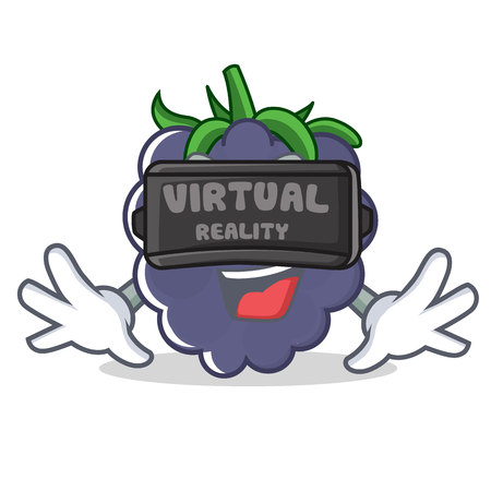 With virtual reality blackberry character cartoon style vector illustration Illustration