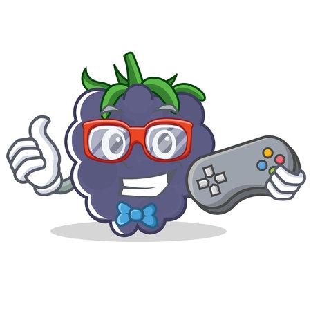 Gamer blackberry character cartoon style vector illustration Illustration