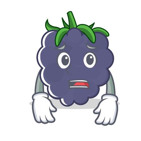 Afraid blackberry mascot cartoon style