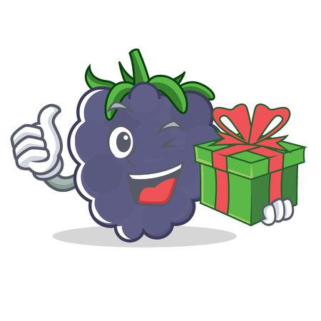 With gift blackberry mascot cartoon style Illustration