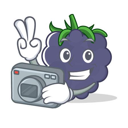 Photographer blackberry mascot cartoon style