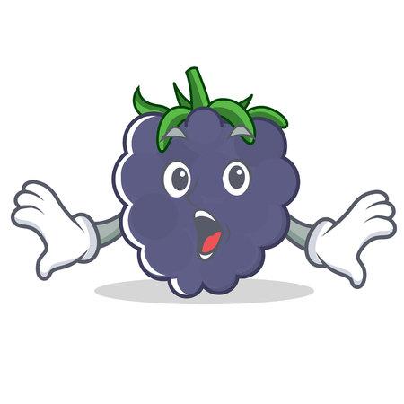 Surprised blackberry mascot cartoon style