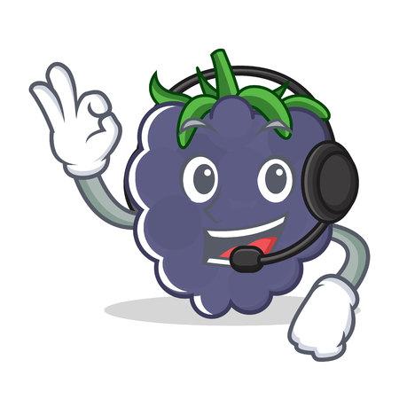 With headphone blackberry mascot cartoon style vector illustration Illustration