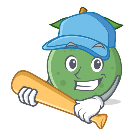 Playing baseball guava character cartoon style Illustration