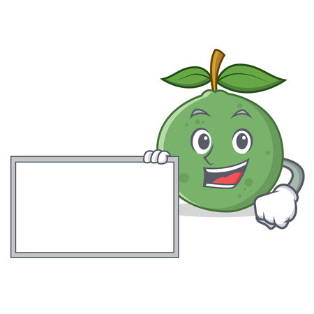With board guava character cartoon style vector illustration