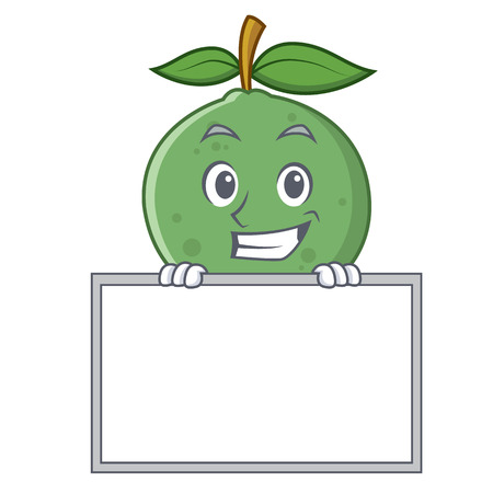 Grinning with board guava character cartoon style vector illustration Illustration