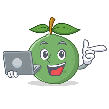 With laptop guava character cartoon style