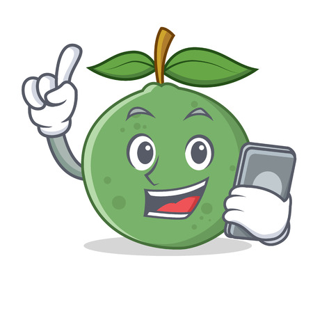 With phone guava character cartoon style