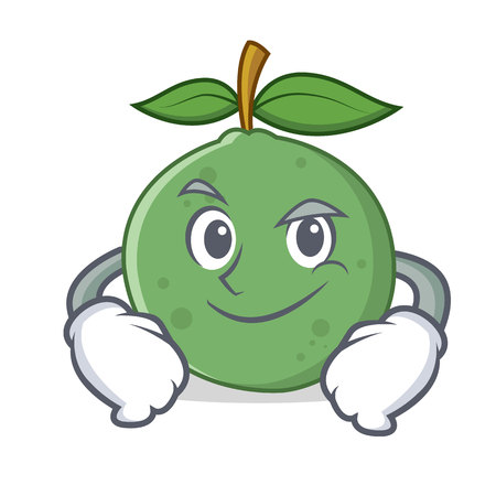 Smirking guava character cartoon style vector . Illustration