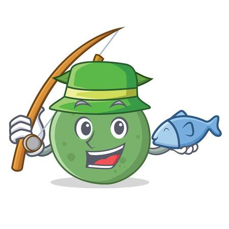 Fishing guava mascot cartoon style vector illustration