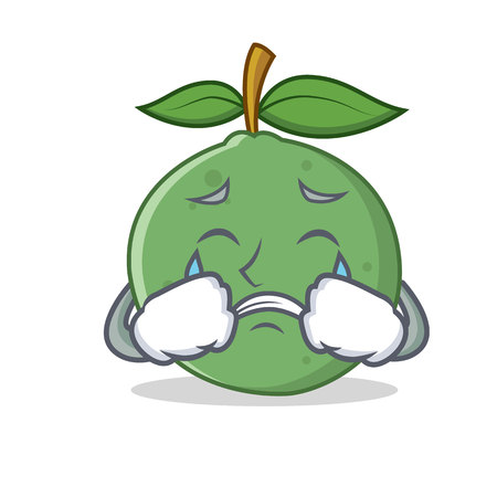 Crying guava mascot cartoon style vector illustration Illustration