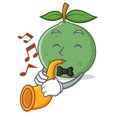 With trumpet guava mascot cartoon style vector illustration