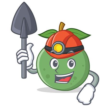 Miner guava mascot cartoon style vector illustration. Illustration