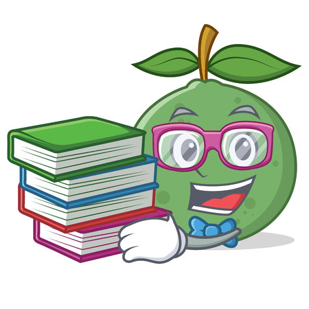 Student with book guava mascot cartoon style vector illustration