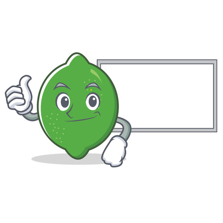 Thumbs up with board lime character cartoon style vector illustration
