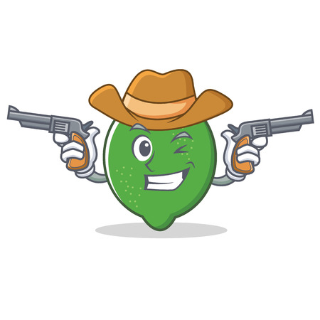 Cowboy lime character cartoon style vector illustration Illustration