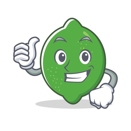 Thumbs up lime character cartoon style vector illustration