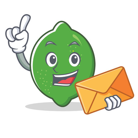 With envelope lime character cartoon style vector illustration Stock Illustratie