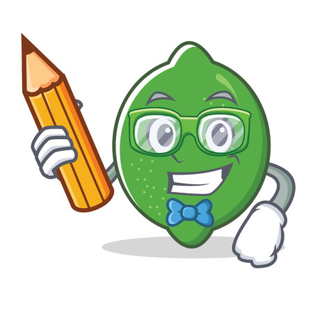 Student lime character cartoon style vector illustration