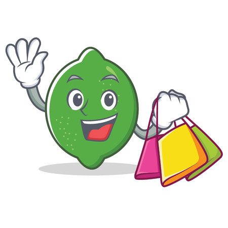 Shopping lime character cartoon style vector illustration