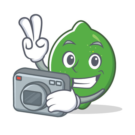 Photographer lime mascot cartoon style