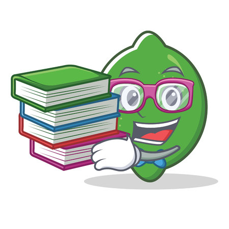 Student with book lime mascot cartoon style vector illustration