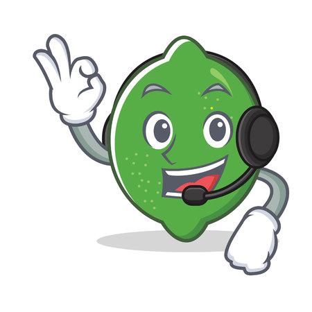 With headphone lime mascot cartoon style vector illustration Illustration