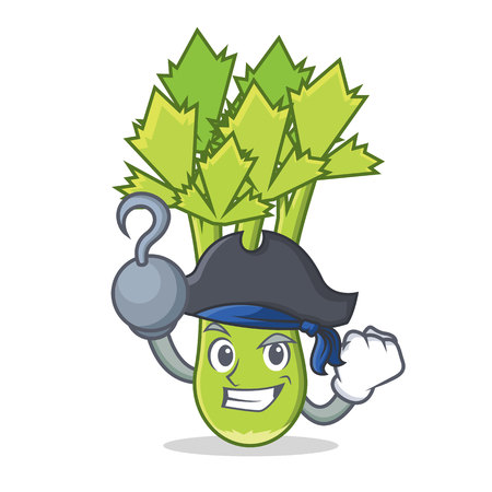 Pirate celery character cartoon style vector illustration