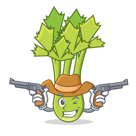 Cowboy celery character cartoon style vector illustration Illustration