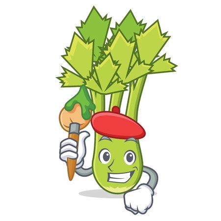 Artist celery character cartoon style vector illustration