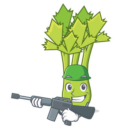 Army celery character cartoon style vector illustration Illustration
