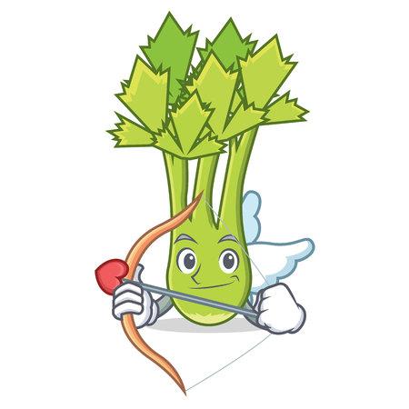 Cupid celery character cartoon style vector illustration Illustration