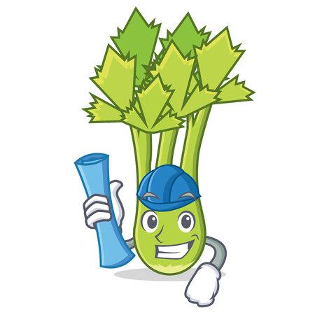 Architect celery character cartoon style vector illustration Vektorové ilustrace