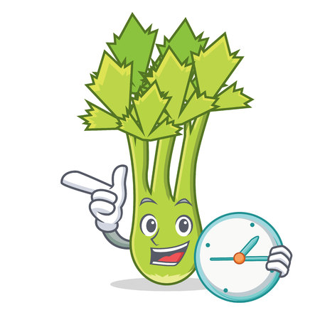 With clock celery character cartoon style vector illustration Illustration