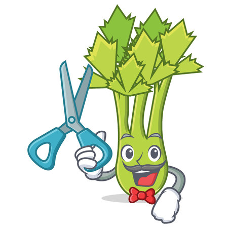 Barber celery character cartoon style vector illustration