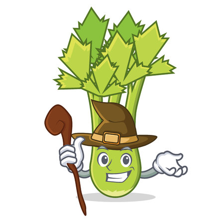 Witch celery mascot cartoon style vector illustration