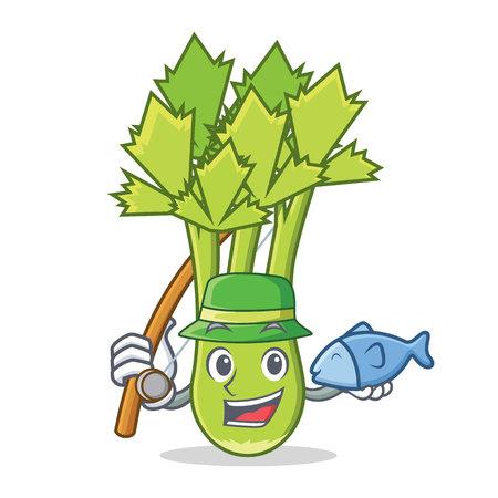 Fishing celery mascot cartoon style