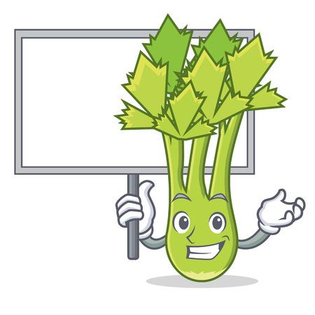 Bring board celery character cartoon style vector illustration Illustration