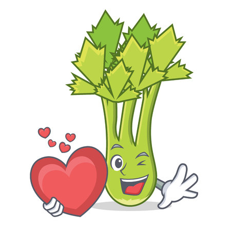 With heart celery mascot cartoon style vector illustration