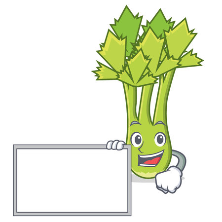 With board celery character cartoon style vector illustration