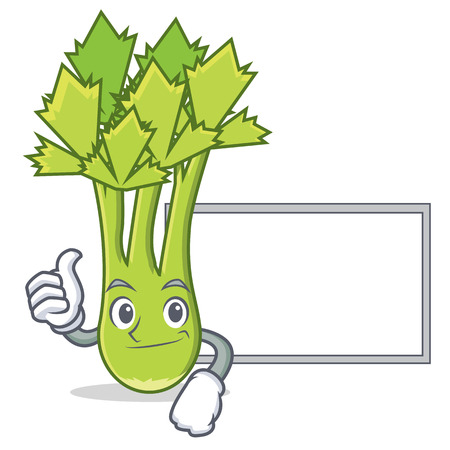 Thumbs up with board celery character cartoon style vector illustration