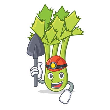 Miner celery mascot cartoon style vector illustration